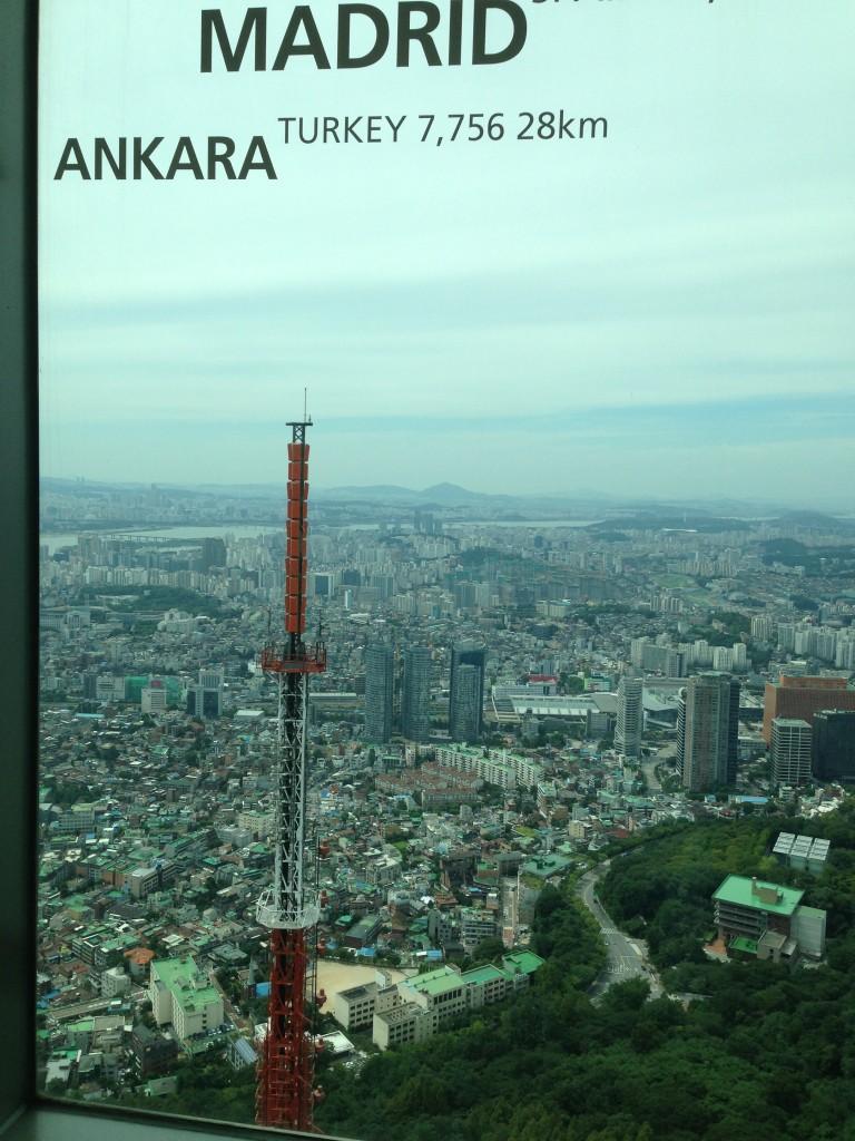 Kule'nin Gözlem Katında Dünya'nın Diğer Şehirlerine Olan Uzaklıklar Yazılmış