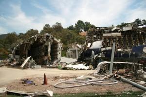 Universal Studios'da uçak enkazı canlandırması